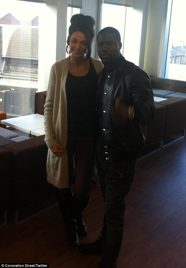 Special guest: Kevin Hart meets Michelle Keegan at ITV studios, Manchester, after a visit to the Coronation Street set