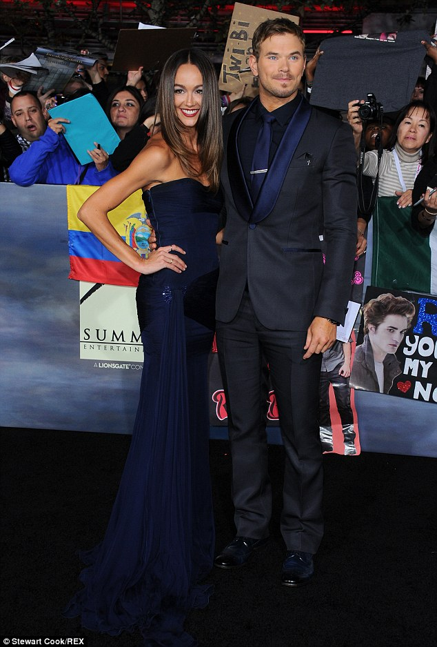 Long time love: The star previously dated Australian actress Sharni Vinson for over a year and half, pictured here at the premiere of Twilight: Breaking Dawn Part 2