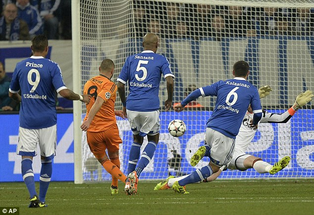 Back of the net: Benzema's effort evades Schalke keeper Fahrmann and finds the bottom corner