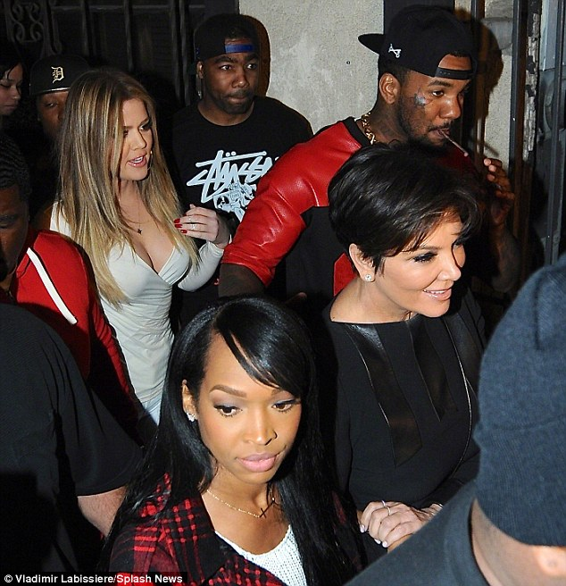 Clubbing chums: Khloe Kardashian and The Game emerge from Club Tru in Hollywood earlier this month, with her mother Kris Jenner in tow