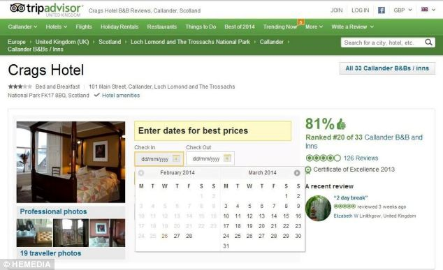 Popular: The Crags Hotel currently has an overall TripAdvisor rating of four out of five