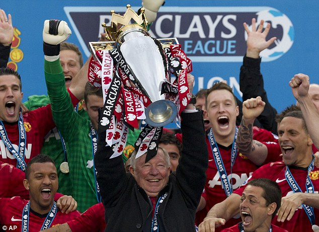 Back then: Former boss Sir Alex Ferguson lifts the title after winning the Premier League by 11 points in 2013