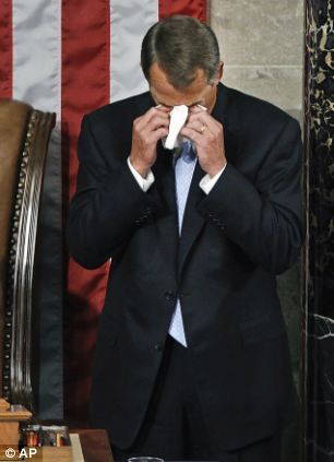 The always-tan Boehner is known for his teary emotional moments but had only chuckles when the subject of his retirement came up
