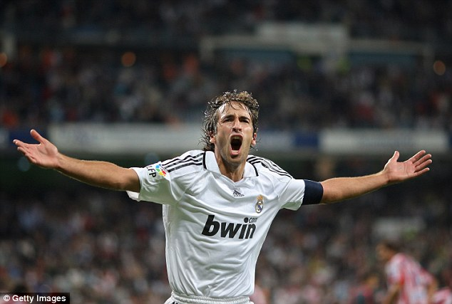 On his tail: Cristiano Ronaldo is nine behind Real Madrid legend Raul's European tally of 71 goals
