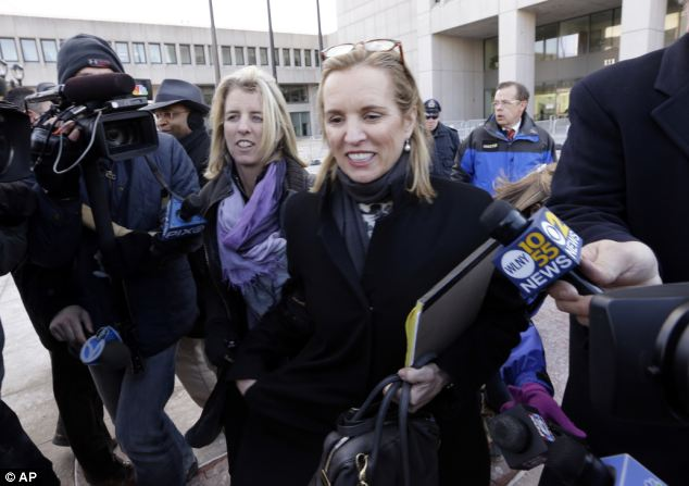 """Trying times: Kennedy was arrested for driving under the influence after she crashed her SUV in 2012. She was accompanied by sister Rory Kennedy, left, at the trial. Trevor has offered his full support of his """"besty"""""""