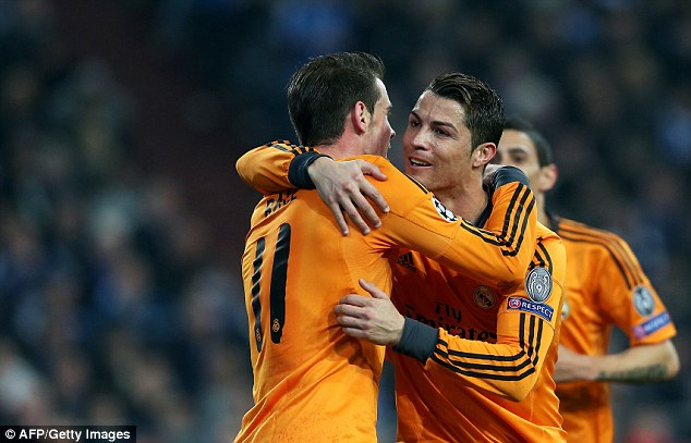 Deadly duo: Gareth Bale (left) and Cristiano Ronaldo scored two goals each during Wednesday night's rout