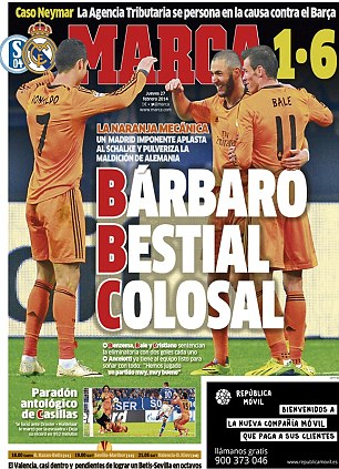 High praise: Spanish newspaper Marca say this is 'The best Madrid side in a very long time'