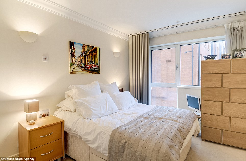 The bedroom has enough room to fit a bed and two small bedside tables, as well as a chest of drawers. The entire flat is more based around location than space