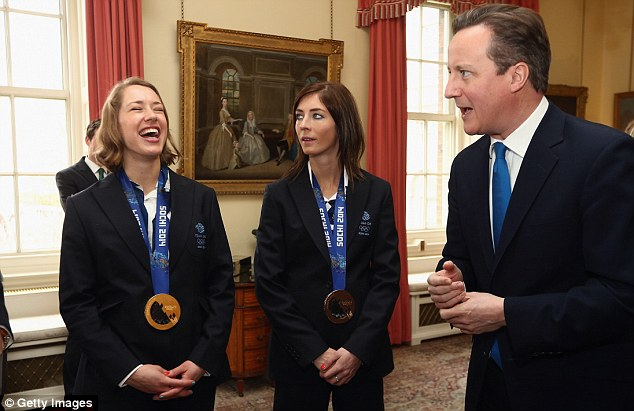 All smiles: Winter Olympic medal winners in the skeleton Lizzy Yarnold (left), and curler Eve Muirhead, meet Prime Minister David Cameron but how much will their achievements inspire people to take up their sports?