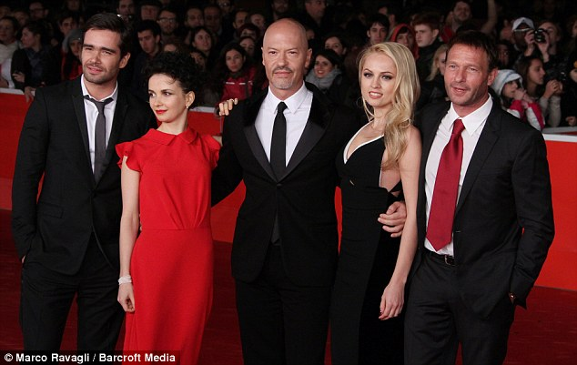 Stars: The film features Russian actors who are mostly unknown outside their own country - from left, Petr Fedorov, Maria Smolnikova, director Fyodor Bondarchuk, actors Yanina Studilina and Thomas Kretschmann