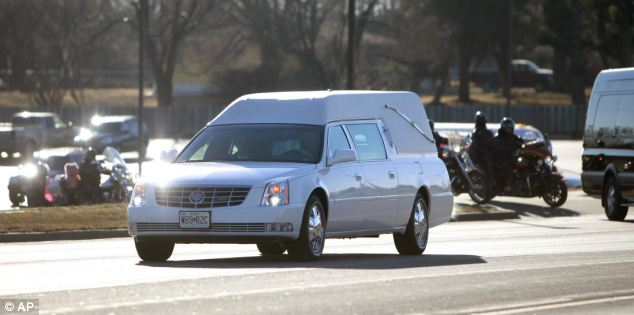 Tragic: A hearse carrying the body of murdered 10-year-old Hailey Owens leaves Ridgecrest Baptist Church in Springfield after her funeral service yesterday