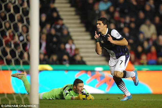 Golden boot: Suarez has scored 23 goals in the Premier League so far this season and leads the scoring charts
