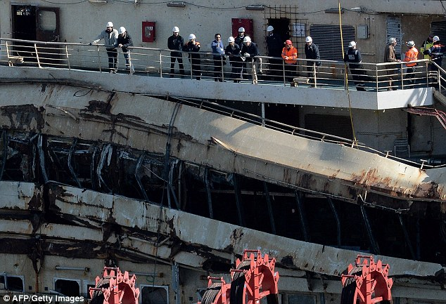 Gathering evidence: The court granted special dispensation for Schettino to attend after a request by his lawyers but specified he was there 'as a defendant, not a consultant'