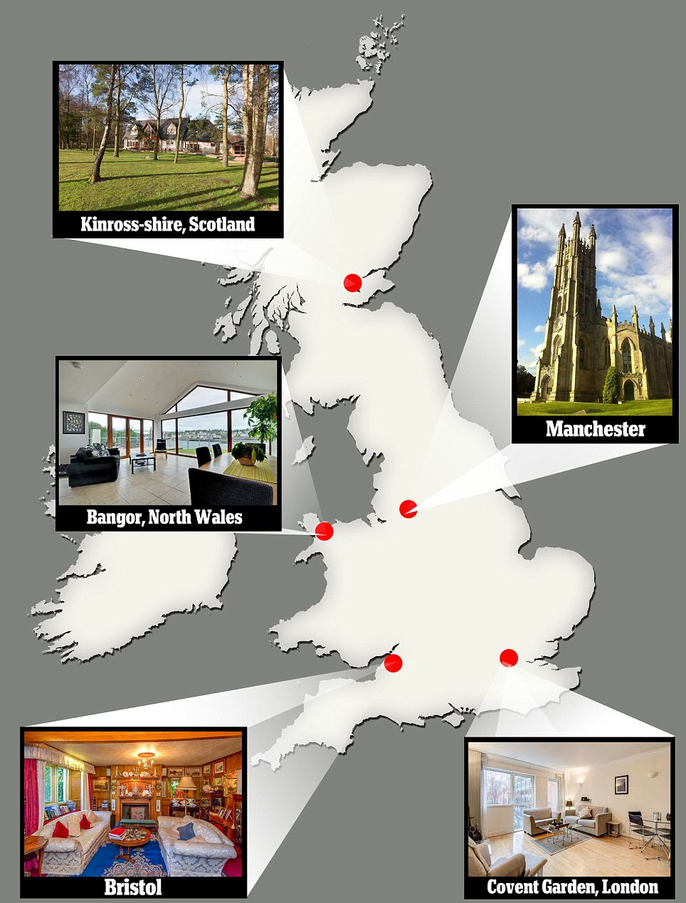 £1 million properties: The size of properties worth £1 million would appear to change depending on how far they are from cities. Smaller properties are based in or near cities, like the property in London, while larger properties can be based in the peace and quiet of the country, like the Scottish property