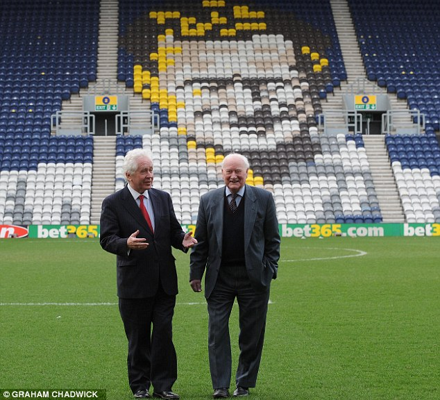 On home turf: Finney with our man Jeff Powell on the Deepdale pitch in front of the stand which bears his name