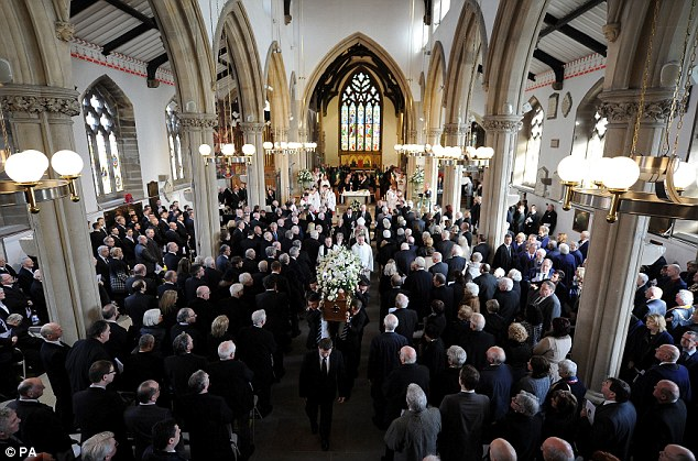 Final journey: The coffin Finney is carried from St John's Minster after his Funeral service