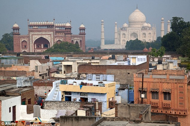 Scene: The murder took place at Mr Sharma's home in Agra (above) in the northern state of Uttar Pradesh