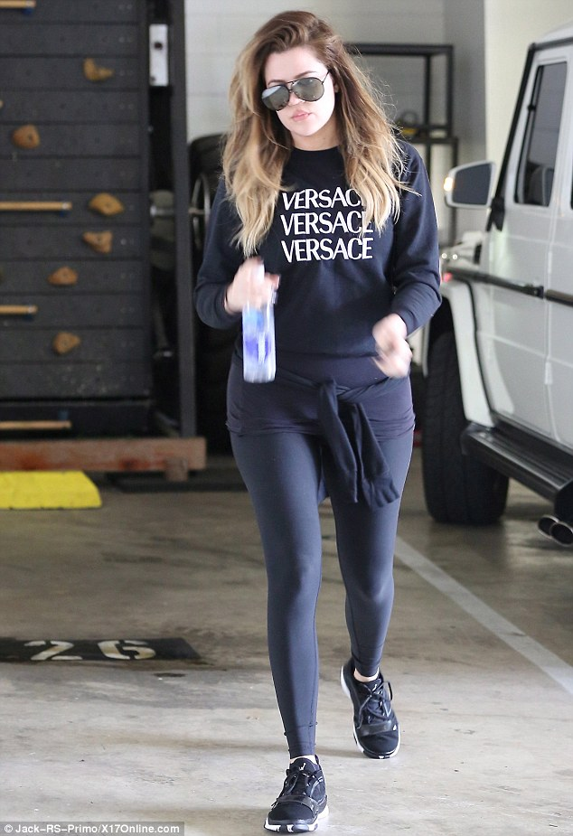 The ultimate gym bunny: Khloe headed for an early-morning workout in Los Angeles on Wednesday