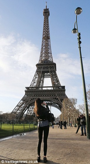 Snap snap: The daughter of Kris Jenner took several photos of the Tower
