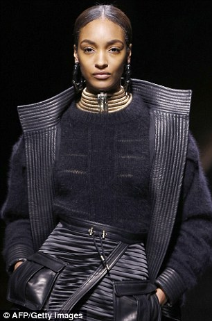 Brits: Rosie Huntington-Whiteley and Jourdan Dunn walk the runway for Balmain