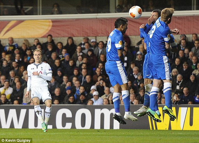 You beauty: Christian Eriksen curled in a fantastic free-kick to pull Spurs level on the night