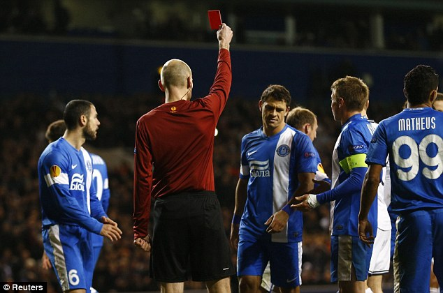 Turning point: French referee Anthony Gautier had no hesitation in sending Zozulya off