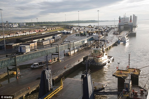 Rare: Officials said it was unusual to find so many people on one lorry, a Belgian vehicle which was arriving in the port of Harwich, Essex (pictured). Police are questioning the other 11 people in the Netherlands