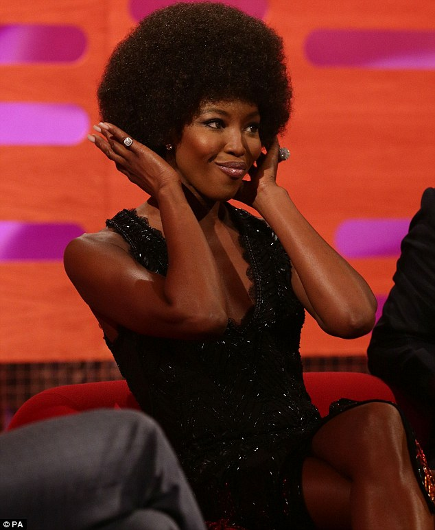 Wigging out: Naomi first showed off her new afro wig when she filmed The Graham Norton Show on Thursday evening