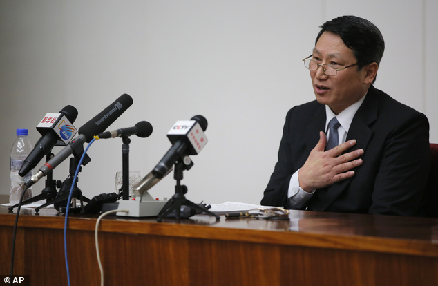 Sorry: Kim Jung Wook, a South Korean Baptist missionary, says he is sorry for his 'anti-state crimes'
