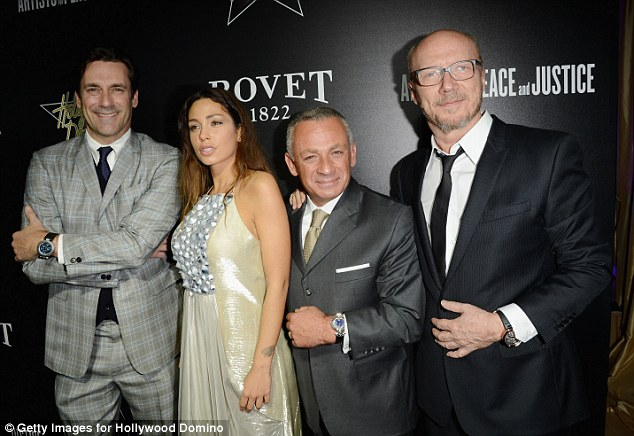 Strike a pose: (L-R) guests Jon Hamm, model Sofia Valleri, President of Bovet 1922 Pascal Raffy and director Paul Haggis pose for photos at the annual event