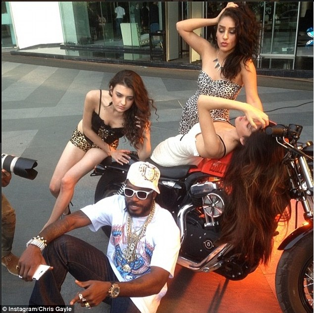 Having fun: Chris Gayle posted this picture to his Instagram accoutn