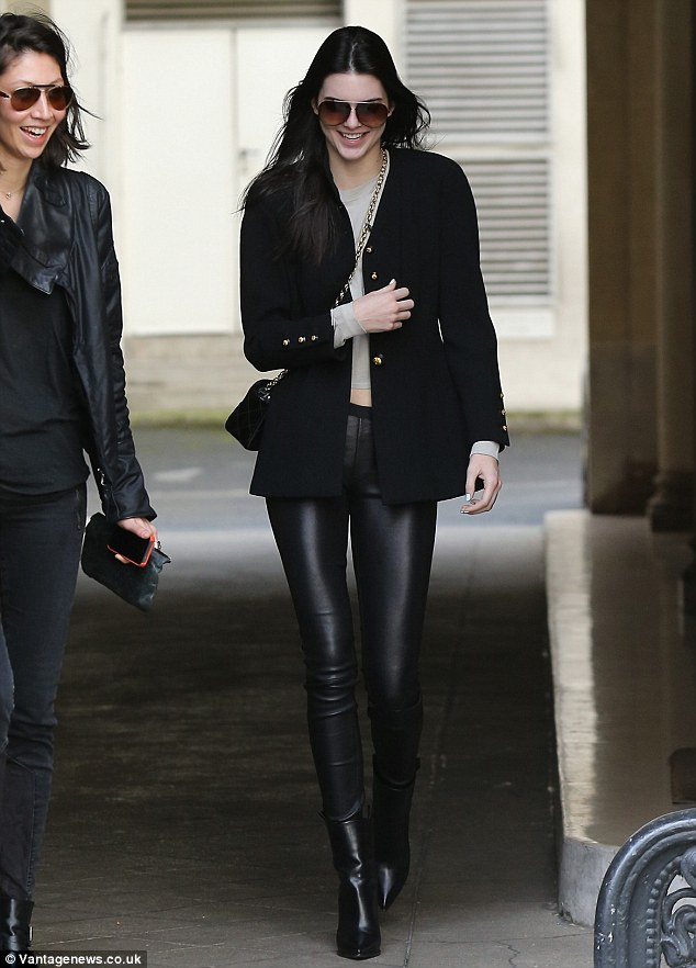 Out and about: Kendall Jenner was seen looking sleek and chic as she took to the streets of Paris, where she is attending Paris Fashion Week - arriving the day before from Los Angeles