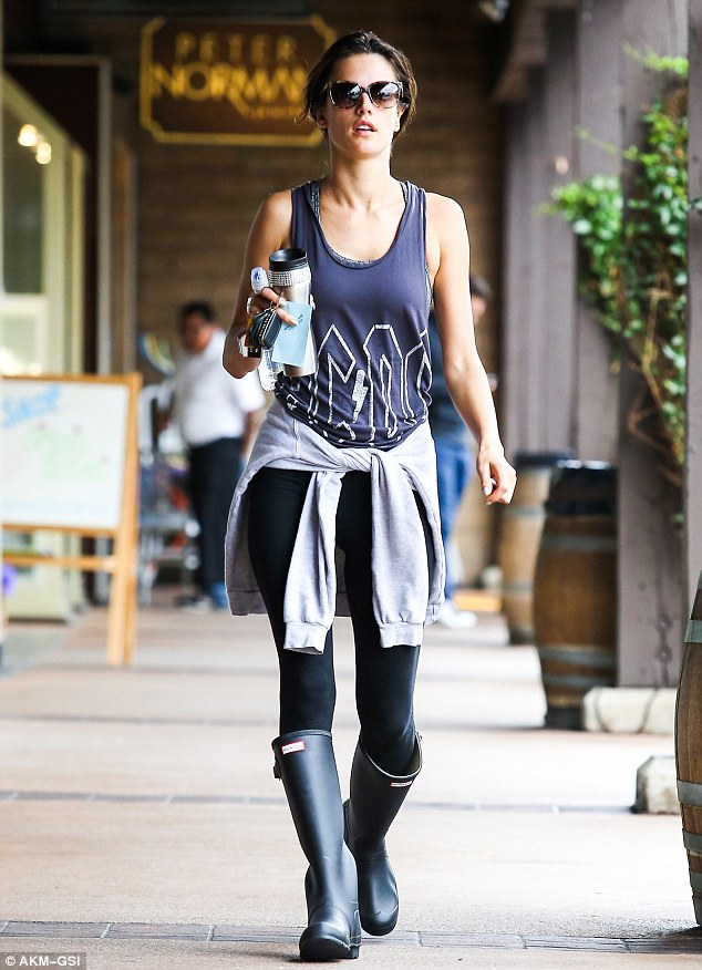 Working up a sweat! Alessandra Ambrosio was seen leaving her indoor cycling class at SoulCycle in Brentwood in Los Angeles on Friday