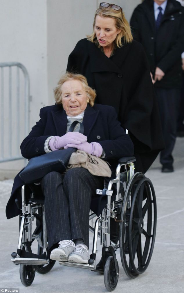 Kerry Kennedy, daughter of assassinated Senator Robert F. Kennedy and the ex-wife of New York Governor Andrew Cuomo, pushes a wheelchair with her mother mother Ethel Kennedy as she exits the Westchester County Courthouse in White Plains, New York, on Thursday