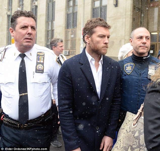 Not guilty: Worthington (pictured leaving court) claims Li kicked his girlfriend before he reacted by punching him in the face
