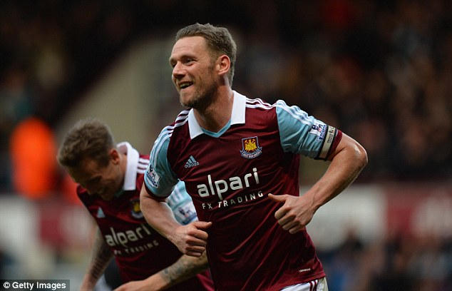 In the goals: Kevin Nolan scored in West Ham's win over Southampton to help them move to mid-table