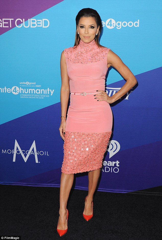 Fashion statement: Eva Longoria wore clashing colours at the Unite4good And Variety Host 1st annual event on Thursday night