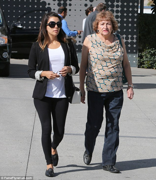 Family fun: Earlier in the day, Eva is seen taking her mother Ella to breakfast at The 101 Coffee Shop in Hollywood, California.