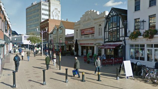 Scene: The alleged incident took place outside Chicago's nightclub (pictured centre) in Chelmsford, Essex