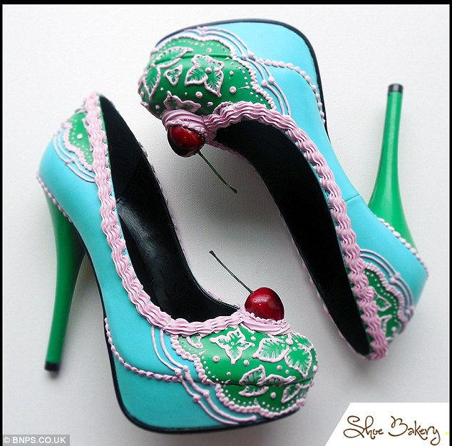 Intricate: The creations are applied to the shoes with the actual tools used by bakers such as a piping bags
