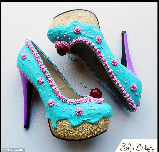 Artistic touch: Chris applies three dimensional sculptures to the footwear so they look like cherries and dollops of ice-cream