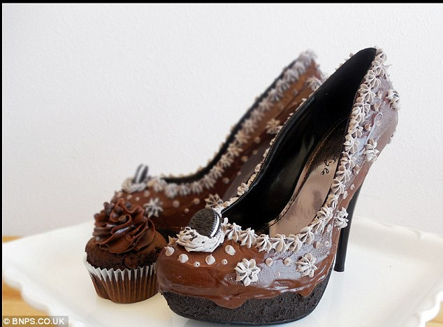 Chocolate choux: Chris Campbell, 29, has expertly painted dozens of pairs of shoes so they appear to be decorated with buttercream, sprinkles, chocolate and cherries