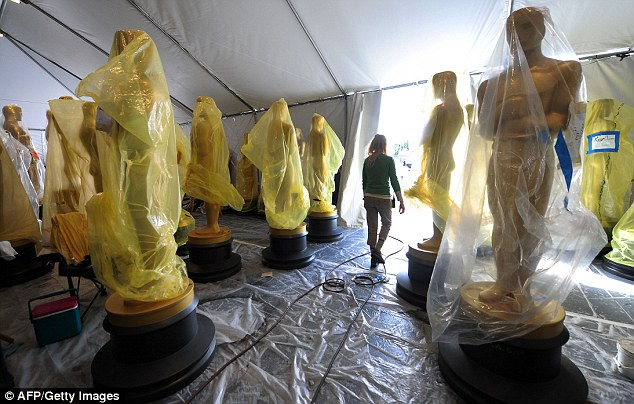 Golden moment: Statues of the Oscars remained in a tent before being transported to the red carpet
