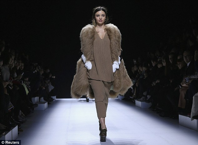 Back to the day job: Miranda modeled a creation by designer Geraldo da Conceicao as part of his Fall/Winter 2014-2015 women's ready-to-wear collection for fashion house Sonia Rykiel