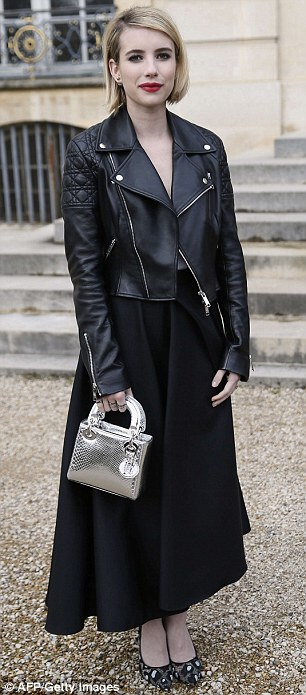 Fashion is what you make it: Emma Roberts cut an edgy figure in her black biker jacket while Czech model Eva Herzigova looked chic as she arrived to attend the Christian Dior show