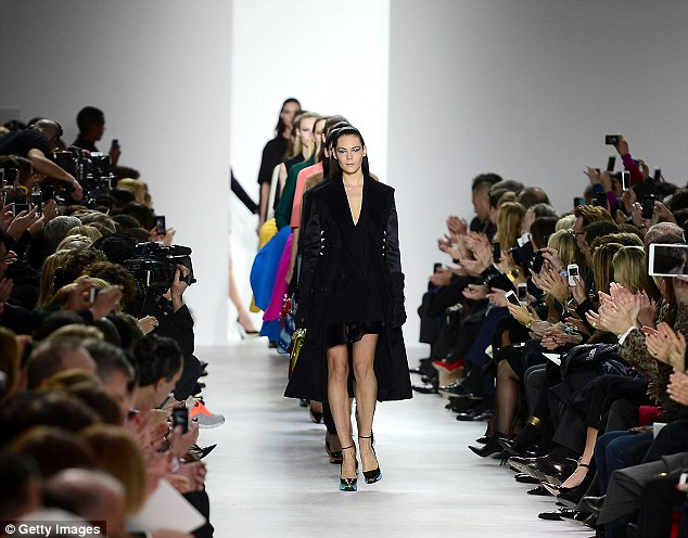 Something new: This year's show marked a departure from Dior's usual very girly style with a focus on more structured lines and suiting