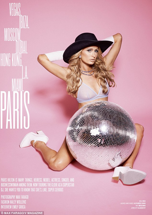 In the pink: Paris Hilton posed in lingerie for the new issue of V magazine where she insisted she's not a DJ, just a smart businesswoman