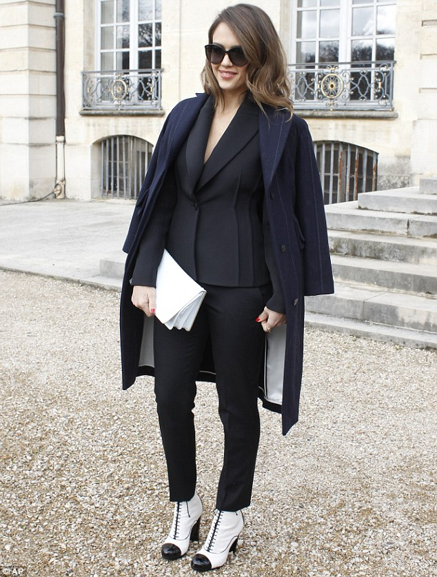 Dressed to impress: The actress Alba has been spotted at a number of events during Paris Fashion Week