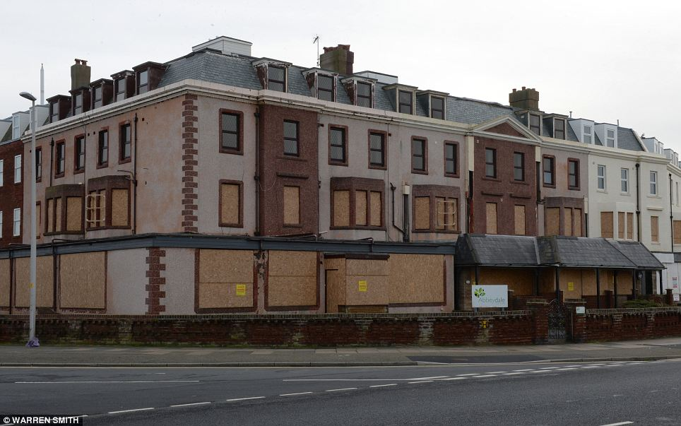 Imposing ruin: The Abbeydale, a former care home on Blackpool's South Promenade, was shut after a scandal which unveiled a catalogue of failings