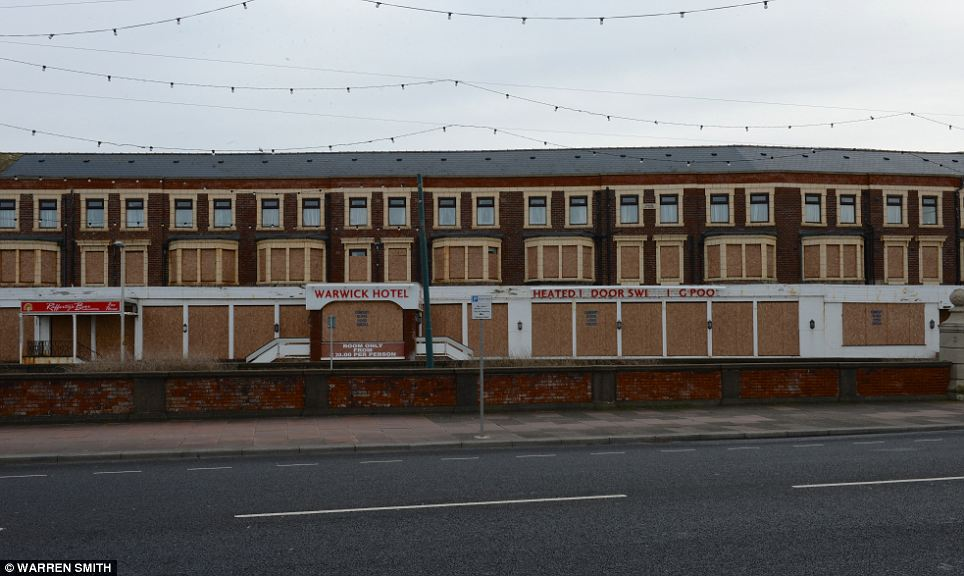 Eyesore: The empty hotel is emblematic of Blackpool's precipitous decline, evidenced by the empty street it sits on